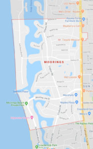 Area map of The Moorings neighborhood in Naples FL
